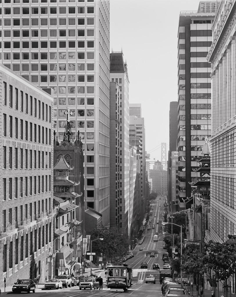 Black and white photograph of California Street, San Francisco, California, 2000