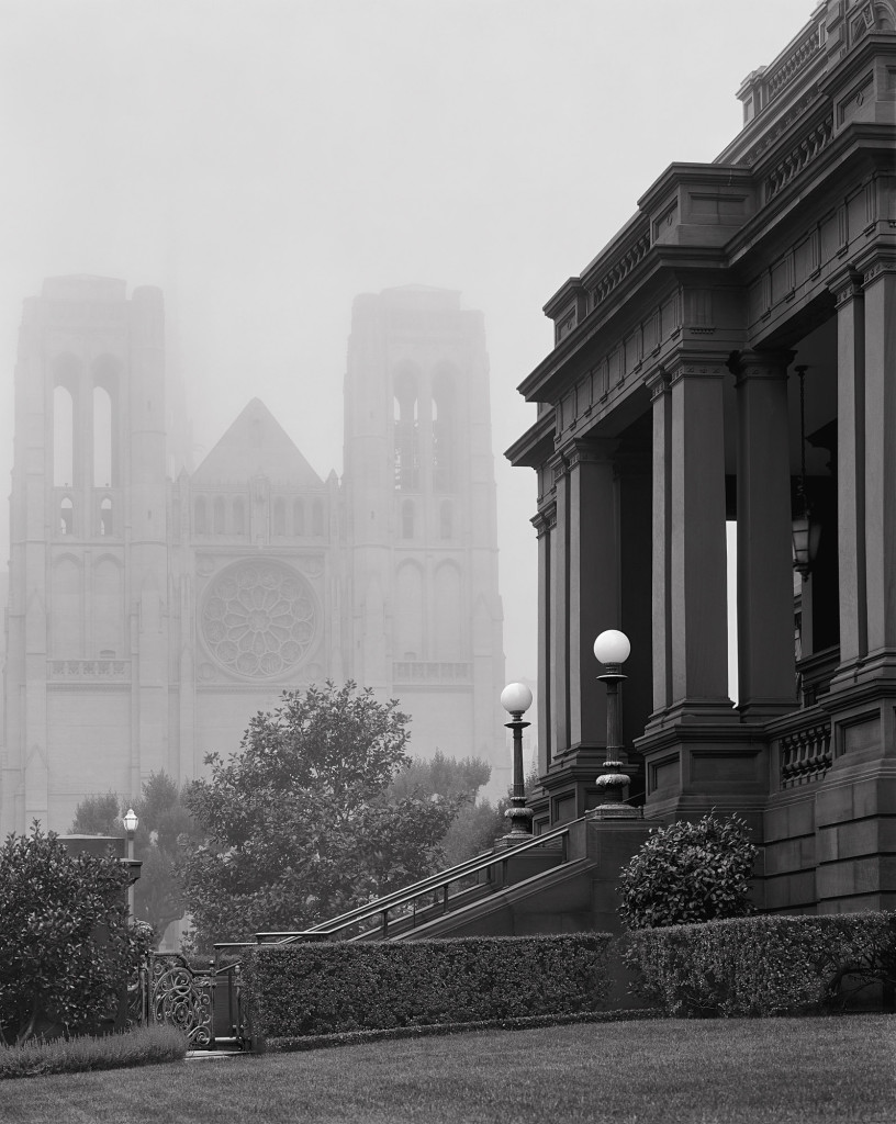 Black and white photograph of Grace Cathedral, San Francisco, California, 2009