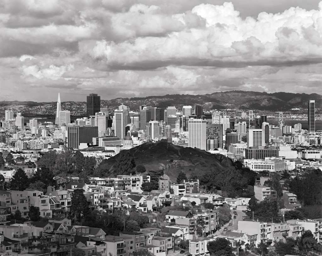 Black and white photograph of Corona Heights, San Francisco, California, 2009