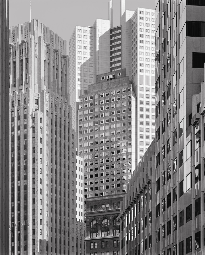 Black and white photograph of First Street and Market Street, San Francisco, California, 2006