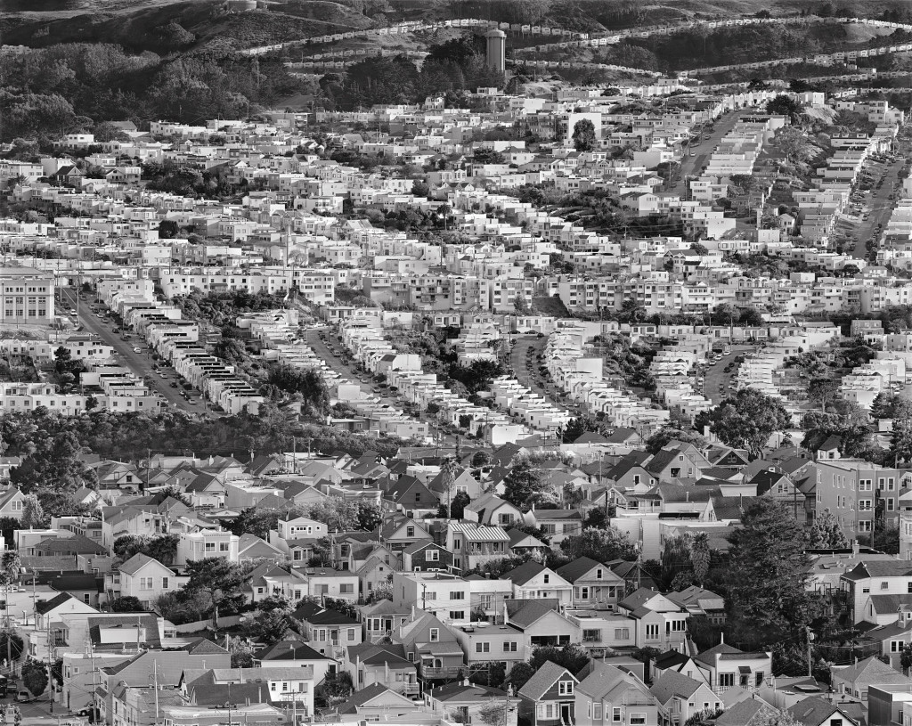Black and white photograph of Bernal Heights and Excelsior, San Francisco, California, 2010