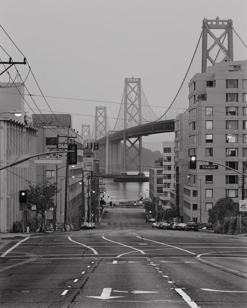 Black and white photograph of Harrison Street and Fremont Street, San Francisco, California, 2000