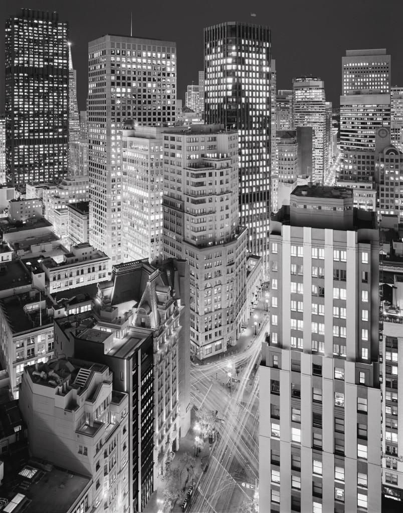 Black and white photograph of Market Street and Kearny Street, San Francisco, California, 2009