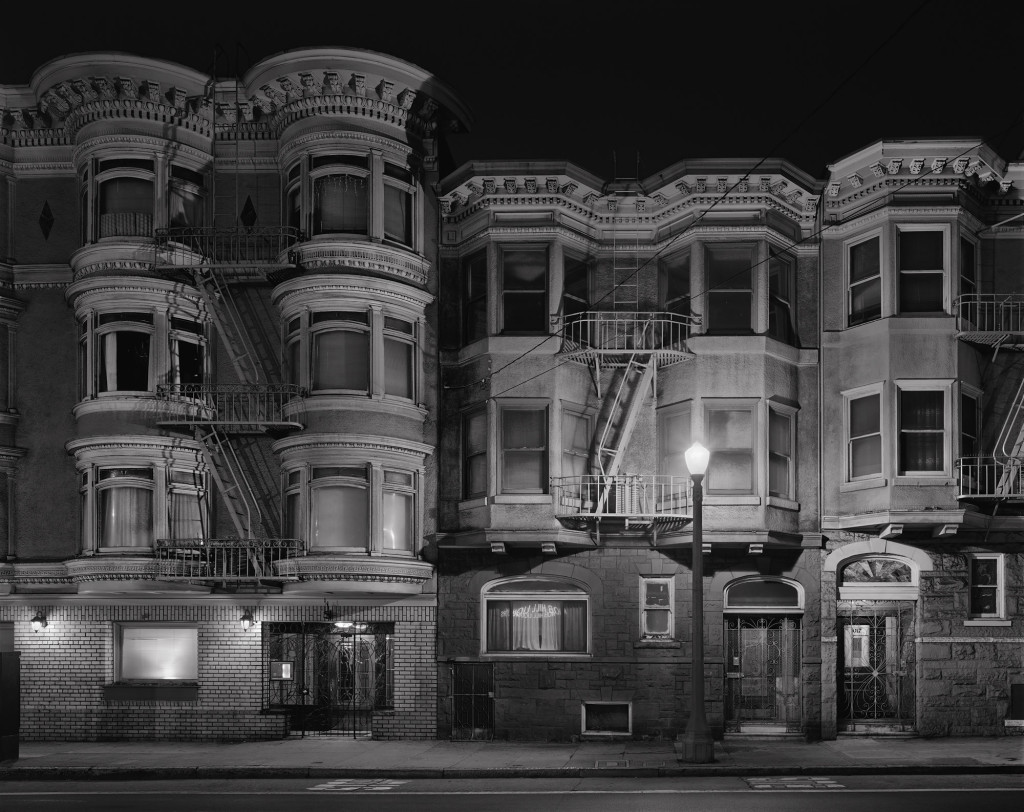Black and white photograph of Pine Street and Hyde Street, San Francisco, California, 2012