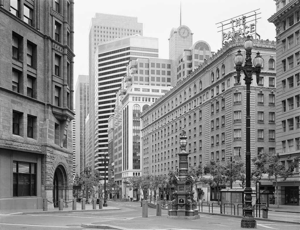 Black and white photograph of Kearny and Market, San Francisco, California, 2009