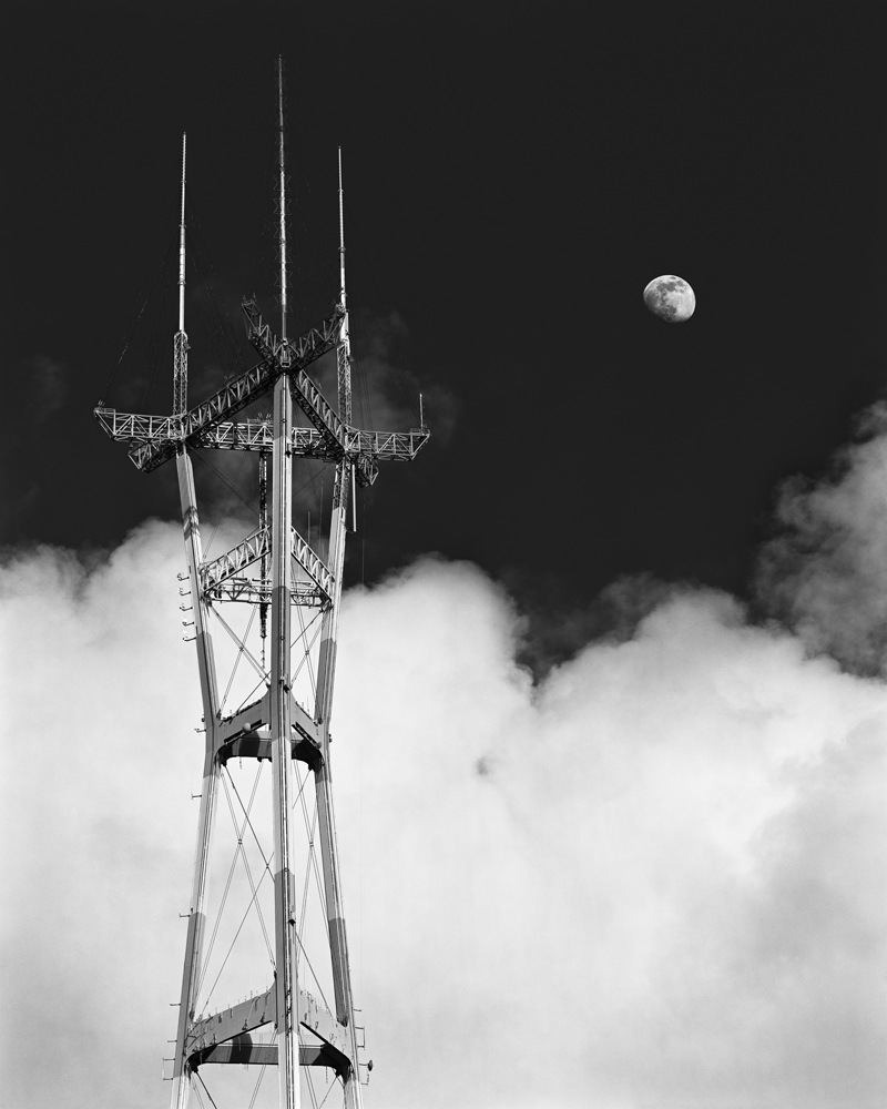 Black and white photograph of Sutro Tower, San Francisco, California,