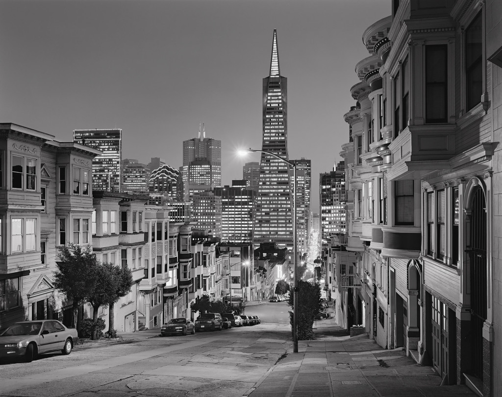 Black and white photograph of Montgomery and Green Streets, San Francisco, California, 2000