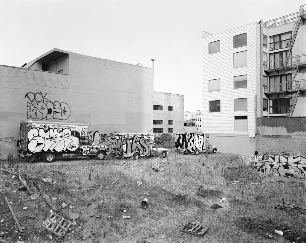 Black and white photograph of Mission Street between 7th and 8th Streets, San Francisco, California, 2008