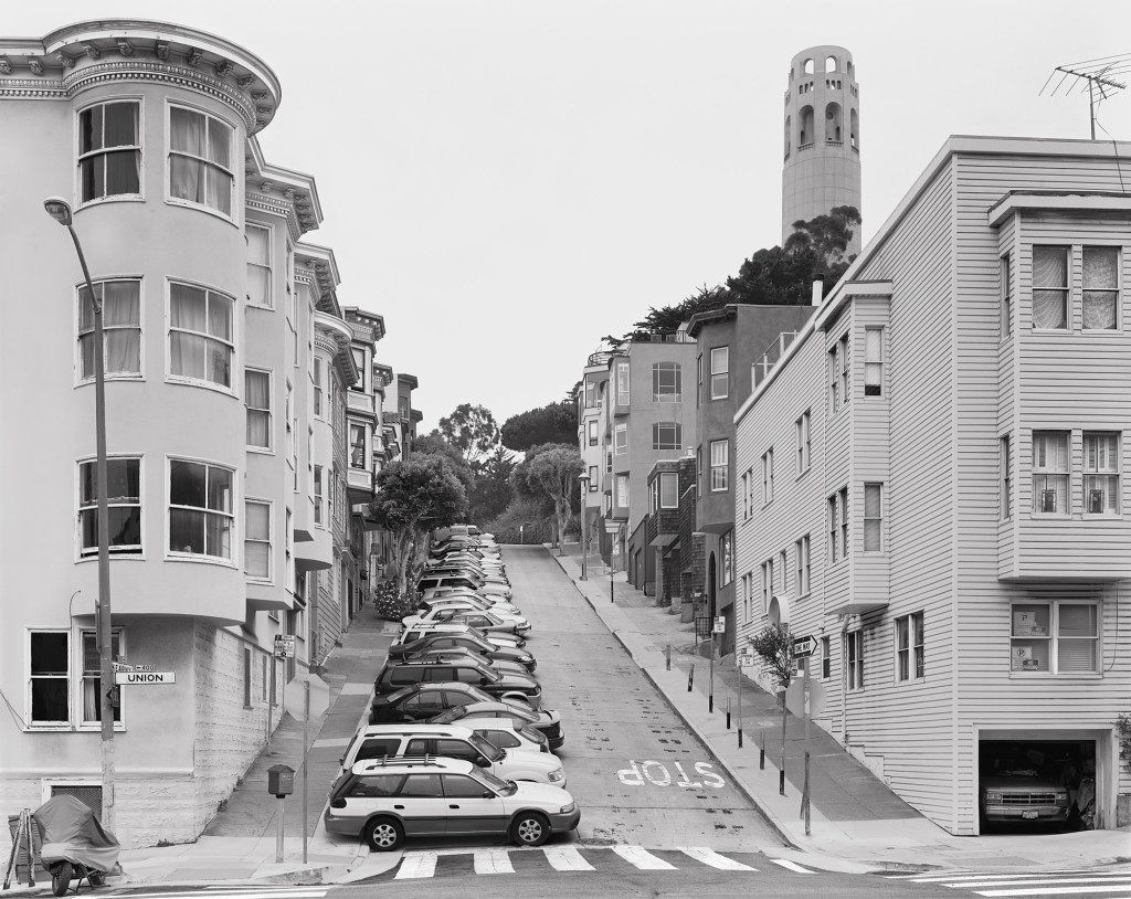 Black and white photograph of Union Street and Kearny Street, San Francisco, California, 2008