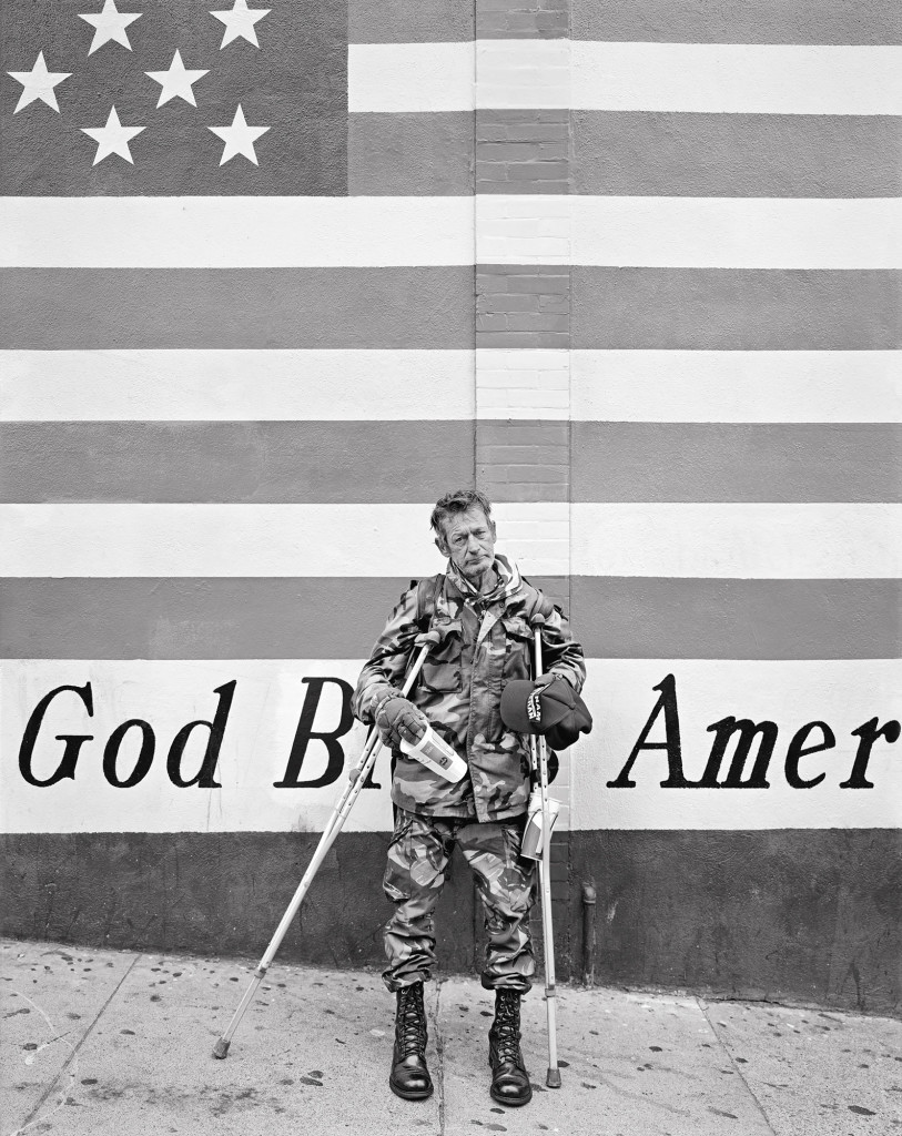 Black and white photograph of Vietnam Veteran, Chinatown, San Francisco, California, 2002